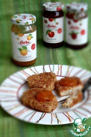 Рецепт Творожно-рисовые биточки в миндале с абрикосовым конфитюром