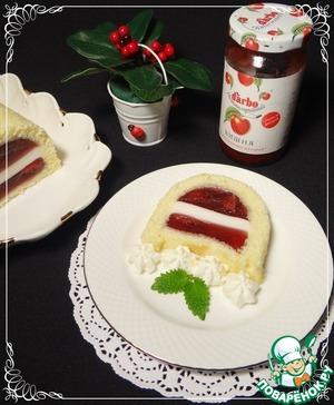 Рецепт Желе вишнево-йогуртное в бисквите
