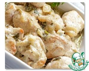 Рецепт Тушеная курица с галушками
