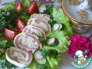 Рецепт Сырный рулет с ветчиной и рисом
