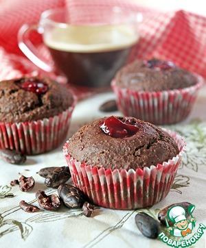 Рецепт Полезные шоколадные маффины с вишневым конфитюром