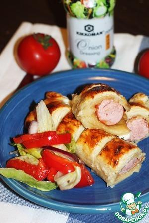 Сосиска в тесте с луковым соусом домашний пошаговый рецепт с фото