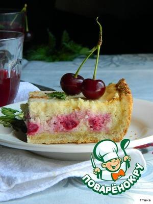 Рецепт: Пирог с начинкой из вишни и творога