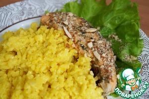 Рецепт Запеченный лосось с шафрановым ризотто