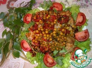 Рецепт Курица запеченная с нутом и помидорами