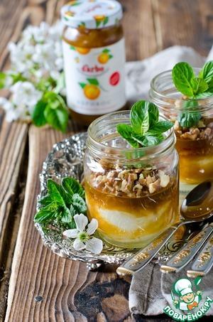 Рецепт Творожная запеканка в банке с абрикосовым желе
