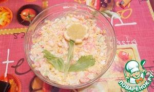 Готовим Креветочный салат с сыром простой рецепт с фото пошагово