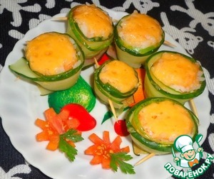 Рецепт Рисовая закуска в огуречных рулетиках