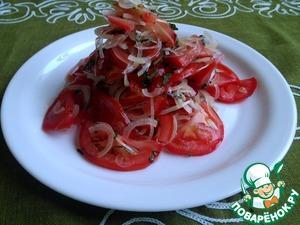 Рецепт Салат из помидоров и лука с базиликом