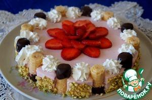 Рецепт Клубничный чизкейк с вафельными трубочками