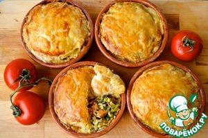 Рецепт Пироги с курицей, луком пореем и эстрагоном