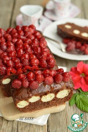 Рецепт Шоколадно-творожный пирог с малиной