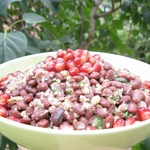 Грузинский салат из фасоли с гранатом и орехами
