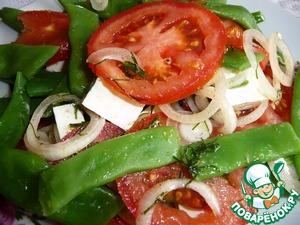 Рецепт Салат из стручковой фасоли, помидоров и сыра