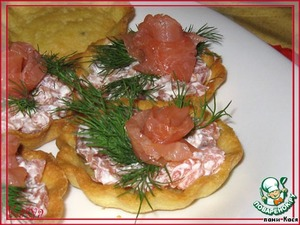 """Тарталетки  """"Морские"""" на картофельном тесте"""