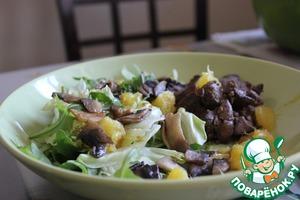 Рецепт Салат с куриной печенью и апельсинами