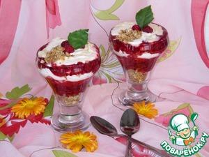 Рецепт Малиновый десерт с мюсли