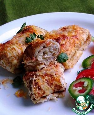 Рецепт Блинчики с творожно-сырной начинкой и паприкой