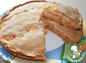 Рецепт Пирог закусочный с луком, морковью и плавлеными сырками