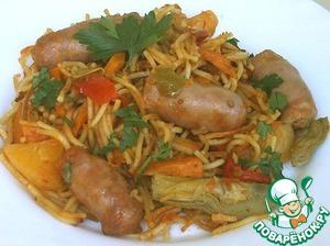 Рецепт Паста а ля касуэла с колбасками и овощами