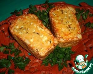 Рецепт Сырно-овощной жульен в белом хлебе