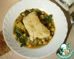 Как приготовить рецепт приготовления с фото Треска с нутом и шпинатом