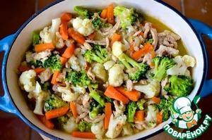 Рецепт Свинина с цветной капустой и брокколи в яблочном соке