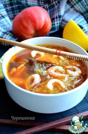 Рецепт Суп с креветками и овощами