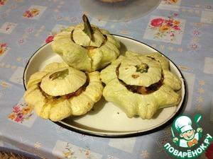 Рецепт Горшочки-патиссоны с ветчиной и грибами