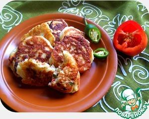 Рецепт Оладушки на дрожжах с сырной пряной начинкой