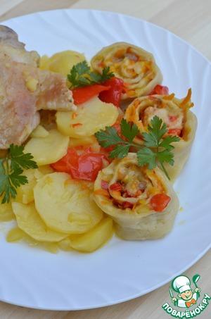 Рецепт Индейка, картофель и штрудели с овощной начинкой