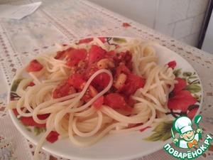 Рецепт Паста с креветками, базиликом и помидорами