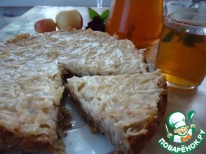 Рецепт Яблочный пирог на овсяном корже и холодный чайный напиток