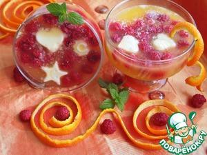 Рецепт Апельсиновый десерт с мороженым и малиной