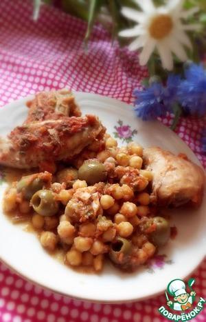 Рецепт Курочка тушеная в овощном соусе с нутом