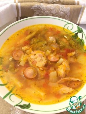 Рецепт Суп курино-сосисочный с молодой стручковой фасолью