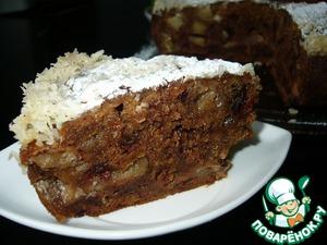 Рецепт Яблочный пирог с финиками под сливочно-кокосовой заливкой