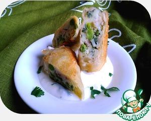 Рецепт Картофель с зелёным горошком и беконом в рисовой бумаге