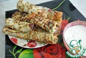 Рецепт Аппетитные блинчики с твердым сыром за 10 минут