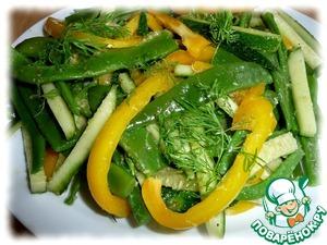 Рецепт Салат из зеленой стручковой фасоли со свежим огурцом и болгарским перцем