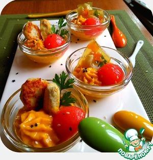 Рецепт Многоликая рыба с морковным кремом и томатным желе