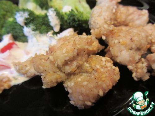 Куриное филе в кунжуте & брокколи с кумином – кулинарный рецепт