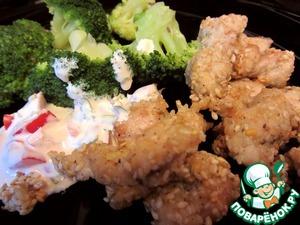 Рецепт Куриное филе в кунжуте & брокколи с кумином