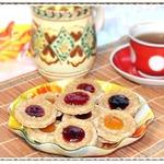 Миндально-овсяное печенье с джемом