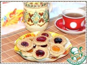 Рецепт Миндально-овсяное печенье с джемом