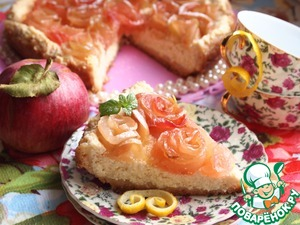 Рецепт Творожно-лимонный пирог с яблочными розочками