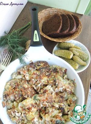 Рецепт Грибы с картофелем и яйцами на сковороде