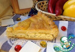 Рецепт Творожно-сырный закрытый пирог с зеленью