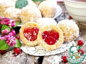 Рецепт Песочные шарики с рикоттой и красносмородиновым желе