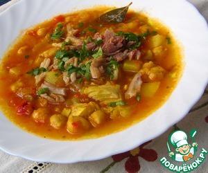 Рецепт Тушеный нут с овощами и мясом